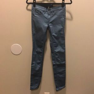 rag & bone/jean blue metallic skinny jeans
